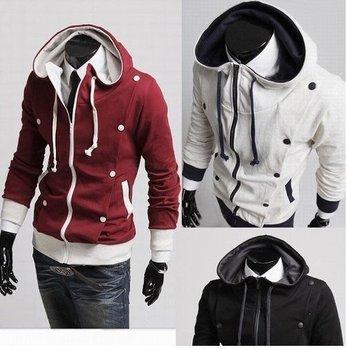 Double drape button design cardigan thickening catch hair even cap guard coat coat Size:M-L-XL