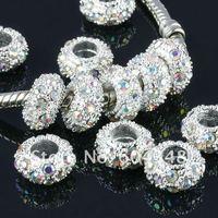 11MM Rhinestone Crystal AB Beads, Rondelle Spacers, Metal Silver Plated Crystal Big Hole European Bead Fit Bracelets-100PCS