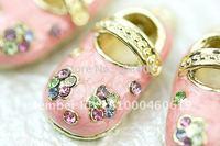 H329a Crystal Pink Baby Shoe 3D Charm Pendants Wholesale (3pcs)