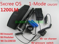 1200 lumens 5xQ5 CREE LED 1-model on/off tactical flashlight with car charger full set complete outfit set