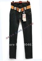 #73  Korean fashion feet washed denim casual slim trousers