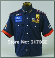 Motorcycle racing shirts, automobile racing shirts, blue cotton cool motorbike shirts For renault