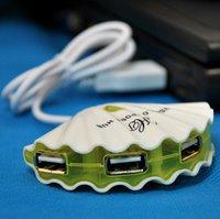 Free shipping 10pcs/lot conch shape high speed USB 2.0 and 4 port HUB