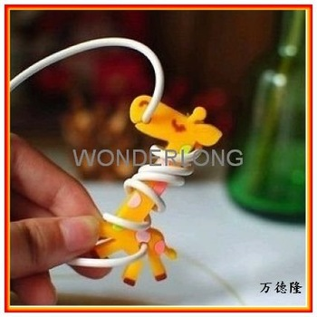 Wholesale Lovely Giraffe Headphone Winder, Mp3, Mp4 Cable Wire/ Wrap/ Organizer/ Cord Management, Free Shipping