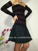 FREE shipping + 40%OFF  ladies' sweater knit top with woven shirt