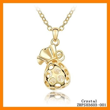 Free Shipping 2011 Wholesale!!! Jewelry Fashion Crystal Newest Style Delicate Crystal  Luck Purse Necklaces ZHPS83603
