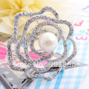 60pcs/lots, wholesale & retail! Cheap Flower Crystal silver Alloy Brooch Pins with pearl,Factory direct sell(YBR08)
