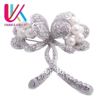 FREE SHIPPING! 6pcs/lots,23''Large size rose flower Pearl brooch with crystal jewelry Cheap IN STOCK(YBR11)