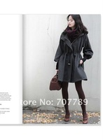 women coat OL overcoat dark grey wool windbreaker outrwea free shipping