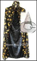 Free shipping wholesale Hot sale Lowest price Halloween props,2pcs/set Witch suit(witch hats+witch cloak) 1set/lot
