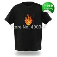 Free shipping EL T-shirts,t shirt,equalizer t-shirt,el tshirt sound active,el music flashing tshirt ,led tshirt 77052