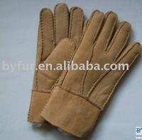 BY-005 sheepskin gloves, genuine double face sheepskin gloves