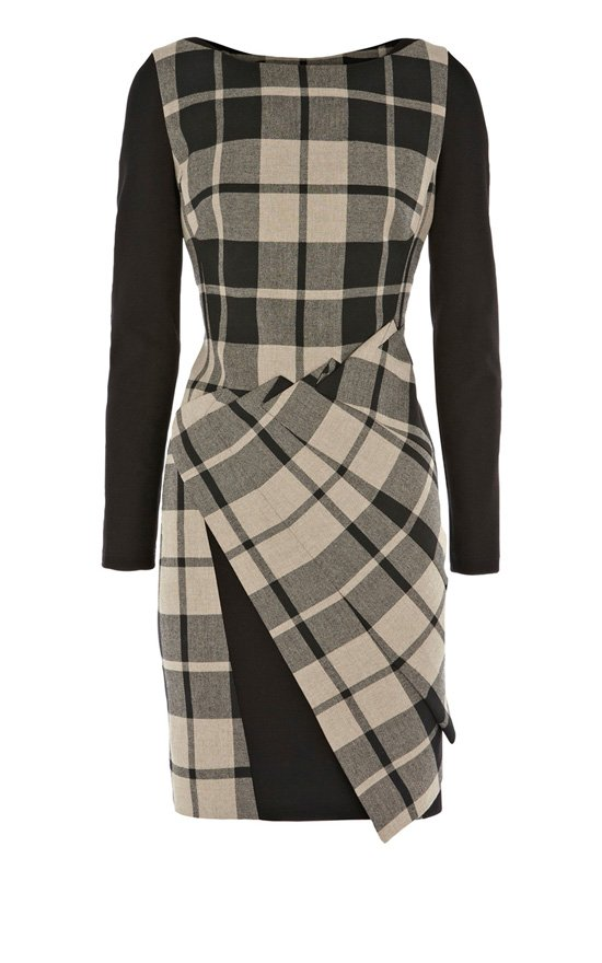 Free shipping! 1960's Modern check shift dress with contrast sleeve and inserts Evening Cocktail Pencil Dress, LG-157(China (Mainland))