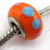 Wholesale - 40x  Charming Design Orange  Lampwork Charms Beads Fit Bracelet 150023