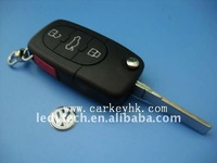 VW  flip remote key blank (Round head) 3+panic button car key shell key case key cover