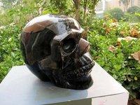 Giant Natural Black Obsidian  Quartz Crystal Skull 23lb+Free Shipping