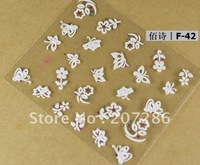 Free shipping! 12 Sheets/lot 3D lace crystal Gems whit sun flower Nail Art Stickers F42