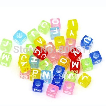 Free Shipping 500pcs Mixed Alphabet /Letter Acrylic Cube Beads 6x6mm(W00839)
