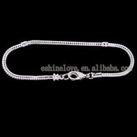 Wholesale lot Fashion New Silver Plate Heart Lobster Clasp Bracelet Fit European Bead br-lc11