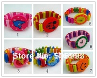 mix style random fashion elastic wood children watch bracelet kids jewelry wholesales price  30pcs