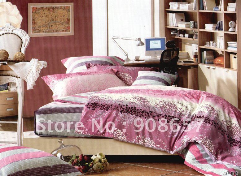 soft printing 100% cotton hot pink striped pattern home textile queen bedding sheet comforter quilt/duvet covers sets 4pc(China (Mainland))