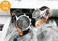 Hot wholesale jewelry watches three black-faced individual style belt couple watch quartz watch gift table for table