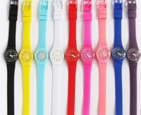 Free shipping+Soft Silicone Strap, Hand Chain, Super Long List,Girls Watch Watch 30pcs/lot