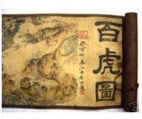 Rare Asian Painting Long Scroll hundert Tiger, 415cm free shipping