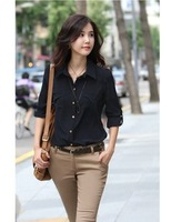 Женская футболка 2012 spring Women's Bottoming shirt lady slim Puff Sleeve lace long sleeve t-shirt black white