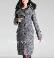 Winter light gray flower Lapel OL commute slim temperament Wool Women Coat Jacket