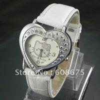 Fashion Hello Kitty diamond watch heart-shaped watch girl student watch brand Children watch 5pcs
