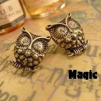 Korean earrings - retro cute owl earrings,NN-002846  ,