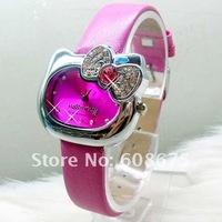 hot hello kitty crystal bowknot watch leather wrist watch lady girl children watch Xmas gift 10pcs