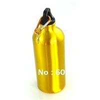 Free Shipping 600ml Shinning Gold Portable Water Bottle Outdoor Sports Aluminum Alloy Drinking Bottle Bicycle Camping Bottle