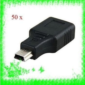 Free Shipping+50pcs/lot USB A Female to Mini USB B 5 Pin Male Adapter Converter