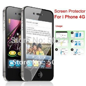 Free Shipping LCD Screen Protector Guard Film For iPhone 4G 4th With Retail Package 20PCS/LOT