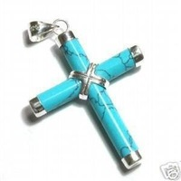 Nobby Turquoise Cross Pendant Necklace free Shipping