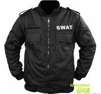 Free shipping 2011 winter hot sale men outdoor leisure USA SWAT prevent wind catch flocking black flight cotton jacket
