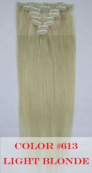 """Free shipping,120g,Hair extensions 8pcs,18""""-28"""" #613 Light blonde,full around head human hair clip in on extensions"""