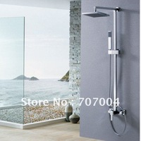 free shipping wholesale & retail chrome color high grade luxury bathroom rainfall shower set faucet mixer taps  LX-9051