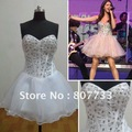 Free shipping cost!!!  Real sample RE052 strapless beaded white cocktail short celebrity dress by Selena Gomez  Mini Dress Hot
