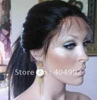 yaki straight Indian remy hair lace front wig/full lace wig with baby hair for black woman