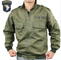 Free shipping 2014 autumn hot sale men outsale leisure green cotton thin canvas flight jacket