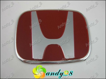 50pcs New H RED Steering Wheel Cap Red Color 50mmx40mm Aluminium Flake Badges Emblems Badge Emblem Sticker andy 8 Free Shipping