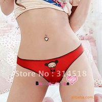 Promotion Wholesale 12 pcs/lot-red colour cotton women panties,sexy T-shaped pants, 1-028
