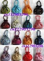 Free shipping job lots 25pcs embroidery elasticity Silk bags Purses XMAS gift bag BD01