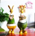 Free shipping wholesale and retail handcraft painted resin table ornament one pair of congratulating rabbit dolls