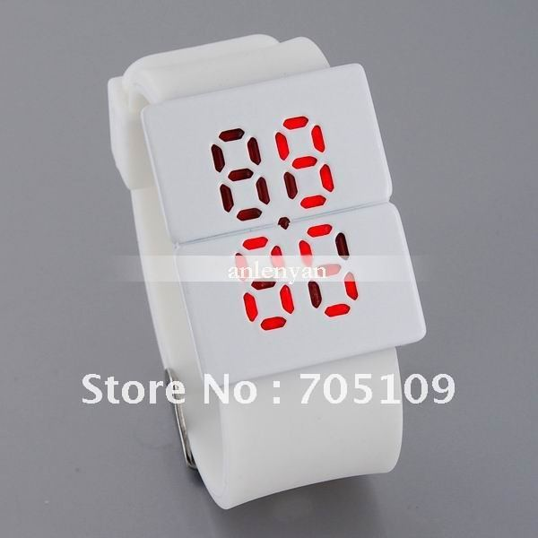 Fashion crystal LED Square Alloy Case Electronic Red LED Wrist Watch (White)(China (Mainland))