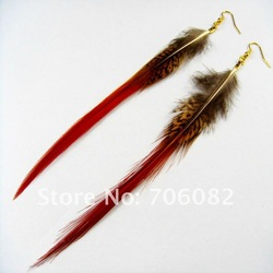 wholesale! beautiful pheasant feather for the feather earrings golden hook jewellery / 10 pairs/lot(China (Mainland))