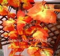 Wholesale 50 Pieces 2.4 meter Artificial Red Maple Leaf Vine, Free Shipping Home & Garden Decoration Fall Maple Leaves Hanging